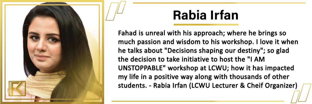 Fahad khan testimonial 2